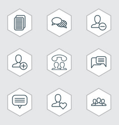 communication icons set with webpage unread vector image