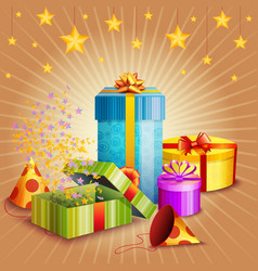 Composition of gift box and different elements vector