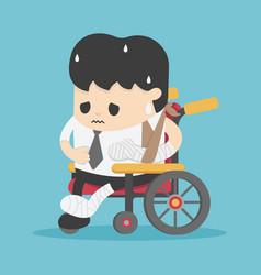 Concept cartoon business accident on a wheelchair vector