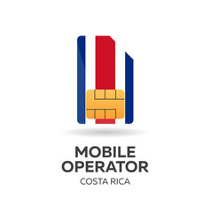 Costa rica mobile operator sim card with flag vector