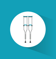 Crutches disabled orthopedic icon vector