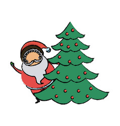 Cute santa claus christmas character with pine vector