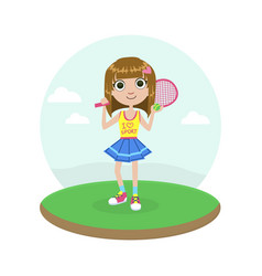 cute young girl tennis player with racket vector image