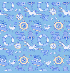 doodle kids seagull and ship seamless pattern vector image