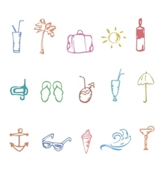 Doodle Summer icons vector image