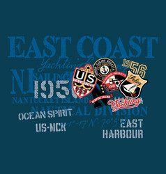 east coast yachting company nautical shirt vector image