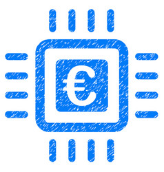 euro processor icon grunge watermark vector image