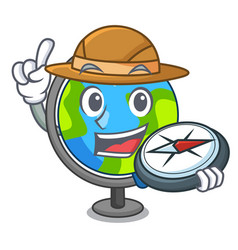 explorer globe mascot cartoon style vector image