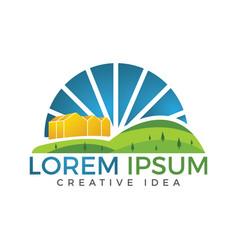 Farm and farming logo label emblem design vector
