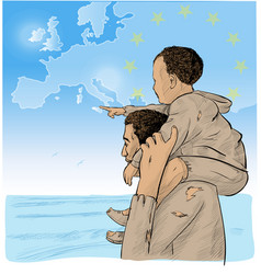 Father and son immigrants in front vector