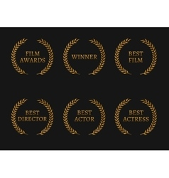 Film academy awards winners and best nominee gold vector image