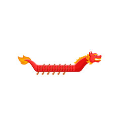 Flat icon of bright red dragon boat with vector