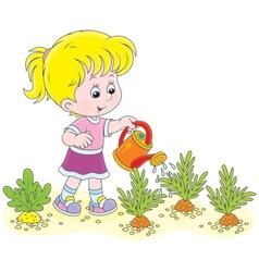 Girl watering carrots vector