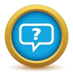 Gold question icon vector