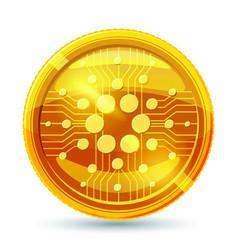 golden cardano coin crypto currency blockchain vector image