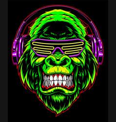 gorilla with headphones vector image