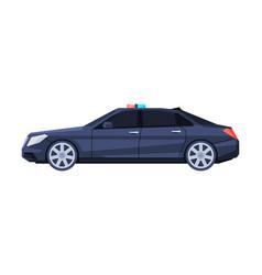 Government sedan car with flashing lights black vector