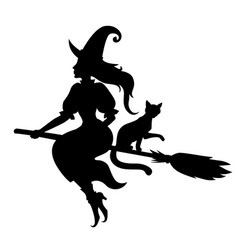 halloween witch and cat silhouette vector image