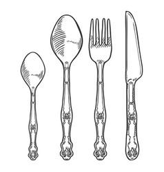 hand drawn sketch set vintage cutlery knife vector image