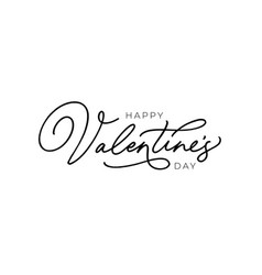 happy valentines day hand drawn black calligraphy vector image