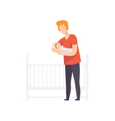 happy young father holding newborn baby on his vector image