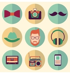 Hipster style icons set vector image