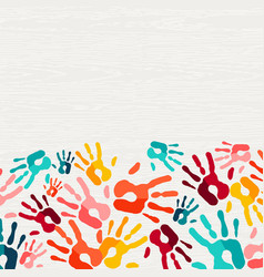 human hand print color background art vector image