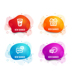 Ice tea gift box and new icons 24h service sign vector