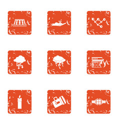 Industrial data icons set grunge style vector