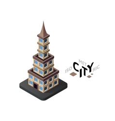 Isometric urban tower icon building city vector image