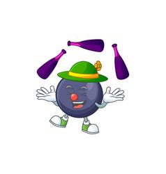 juggling blackcurrant cartoon mascot on white vector image