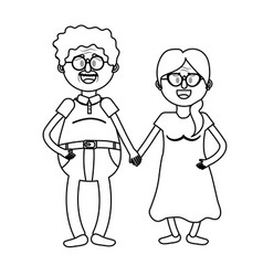 line old couple with hairstyle and glasses vector image