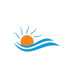 Logo with yellow sun and blue sea waves vector