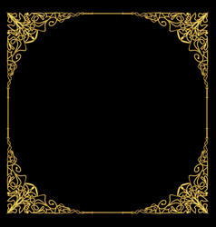 Luxurious golden frame in art deco style rich vector