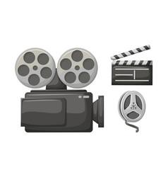 movie clapper retro camera film bobbin tape vector image