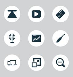 Multimedia icons set with top zoom out remote vector