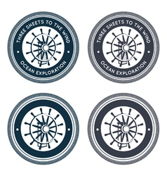 Nautical emblem with steering wheel vector image vector image