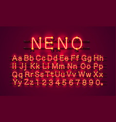 neon city color red font english alphabet and vector image