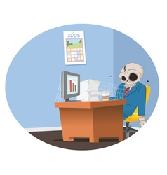 office employee skeleton vector image