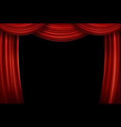 Open red velvet movie curtains with black screen vector