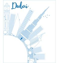 Outline Dubai City skyline vector