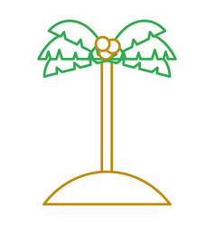 palm tree coconut sand island icon vector image