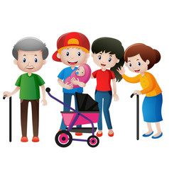 People at different ages in family vector
