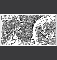 philadelphia pennsylvania usa map in black and vector image