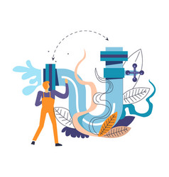 plumber service of professional working man person vector image