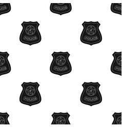 Police badge icon in black style isolated on white vector