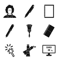 programming device icons set simple style vector image