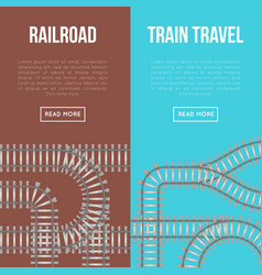 Railroad and train travel banners vector