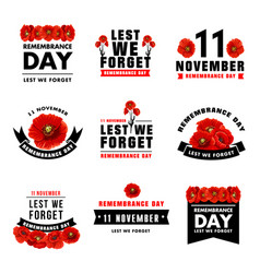 Red poppy flower icon for remembrance day design vector