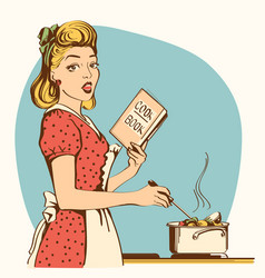 Retro young woman cooking soup in her kitchen vector